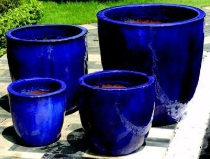 Glazed Pots Blue Planter Small Garden Design Santorini Blue