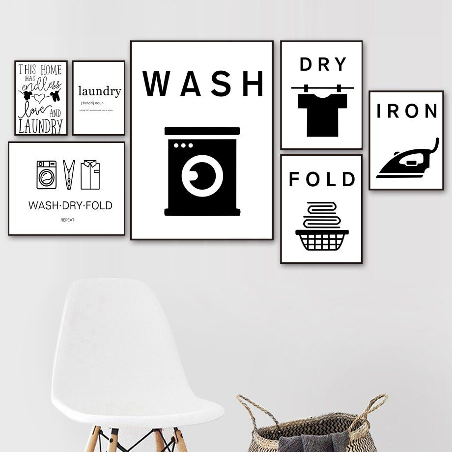 Online Shop Wash Dry Fold Iron Laundry Sign Black White Wall Art Canvas Painting Nordic Posters Laundry Wall Art Laundry Room Wall Art Wall Art Canvas Painting