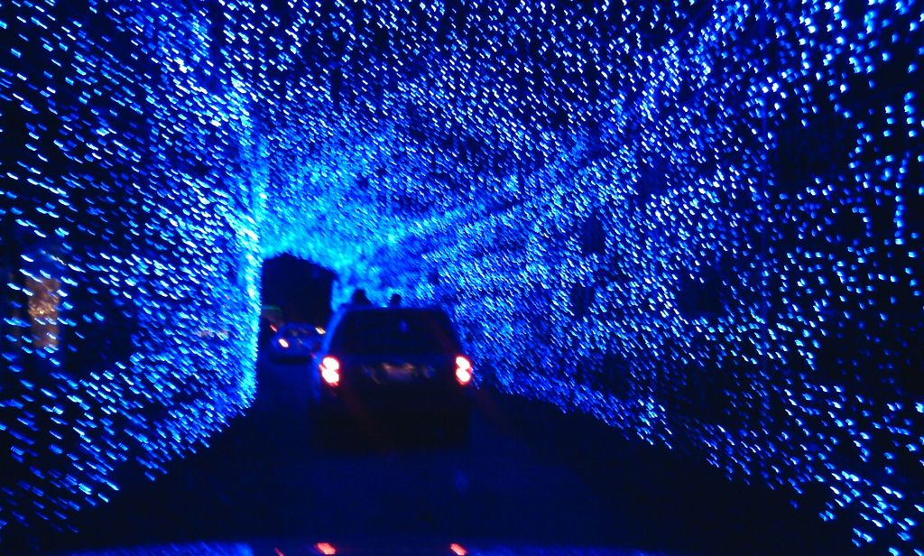 Blue Tunnel of Lights oh my, a great place for tunnel kissing