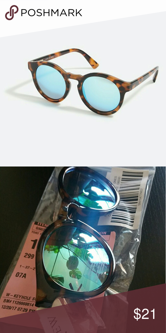 5376933c57bd8 NEW J. CREW keyhole sunglasses Tortoise. Blue revo lenses. 100% UV  protection. J. Crew Factory Accessories Sunglasses