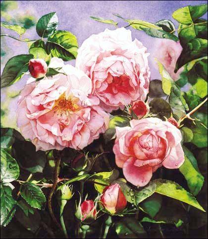 German Signed Floral Oil Paintings