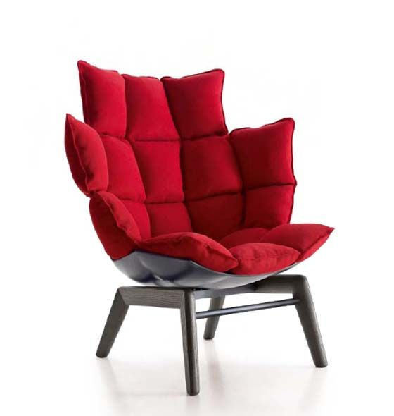 Comfortable Chair with Unique Upholstery Pattern by B Italia