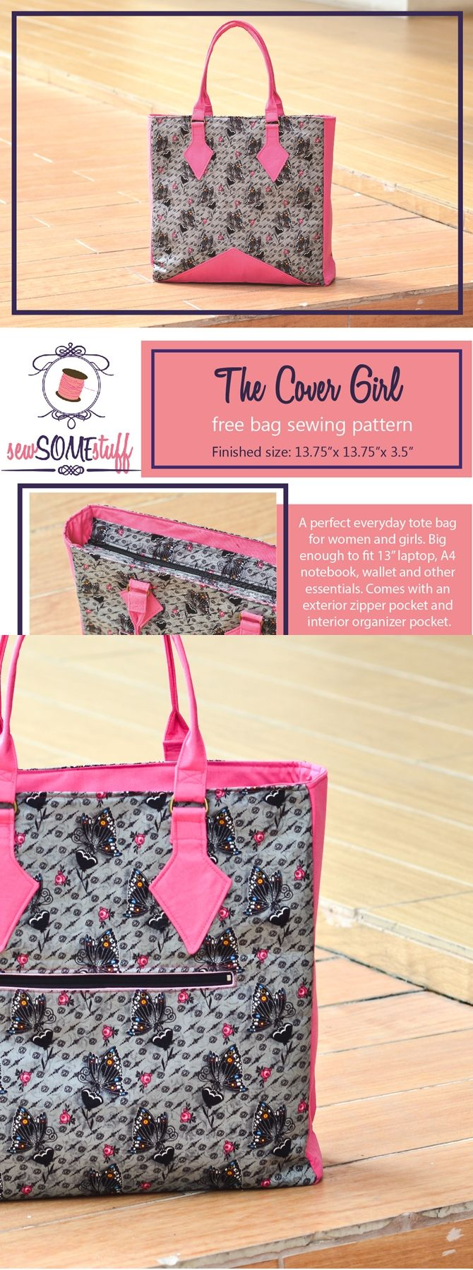 The Cover Girl Bag - FREE BAG SEWING PATTERN PDF | Taschen nähen ...