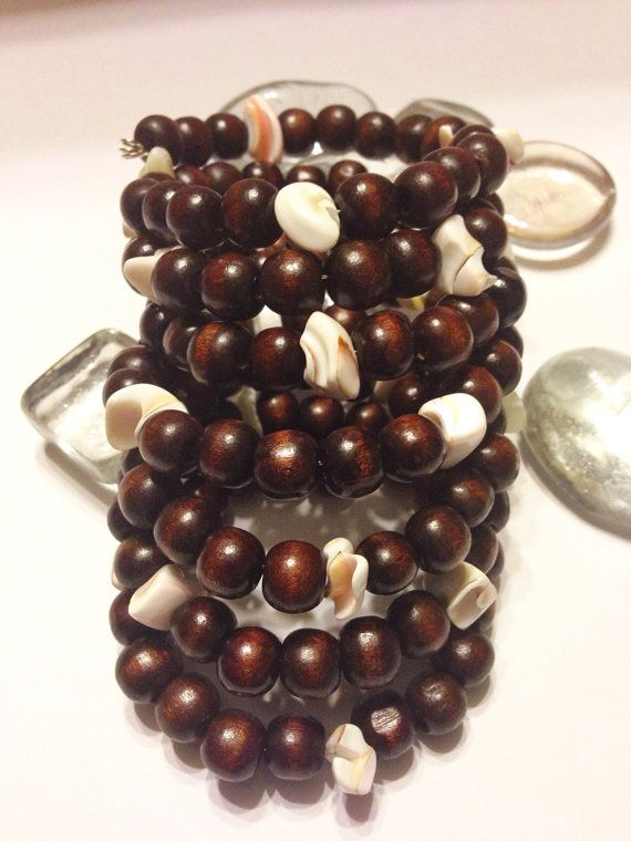 Wood and Shells Wrap Cuff Bracelet by UniqueDesignsbyZee on Etsy, $25.00