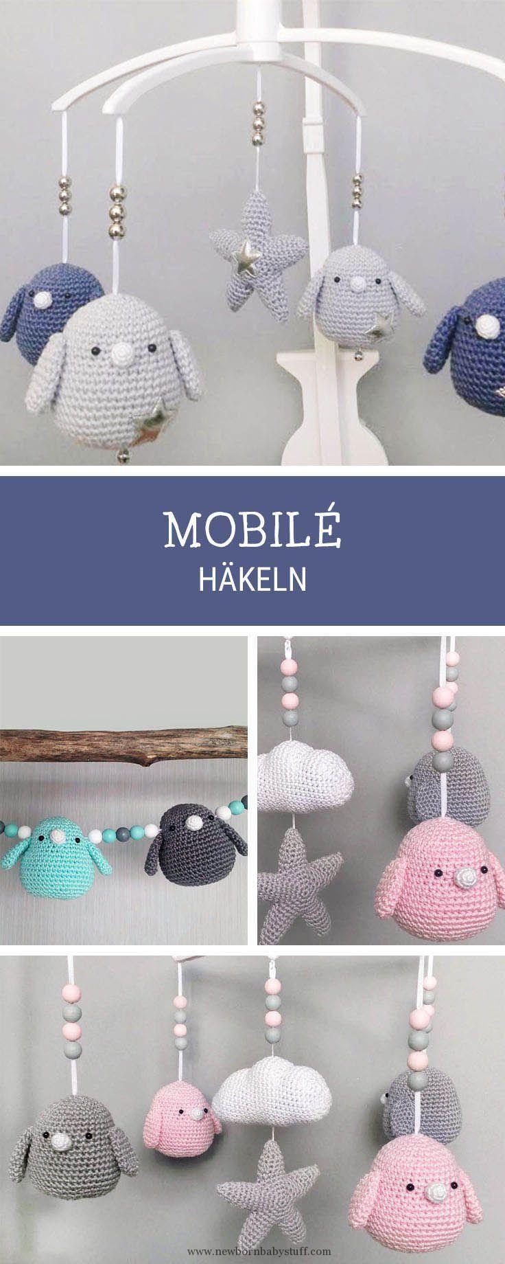 Baby Knitting Patterns Häkelanleitung für ein Mobile mit gehäkelten ...