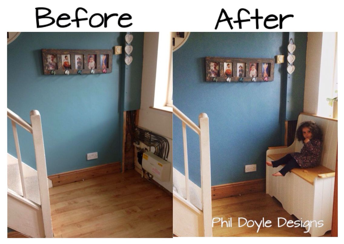 fuse & Meter box cover. Monks Bench with built in storage. Before & After