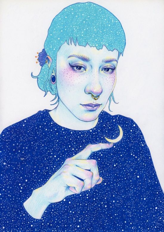 Self portrait by Natalie Foss | selfie, self portrait, stars, space, moon, blue, light blue, sky. Click through for prints of this artwork (cards, phone cases etc.)!