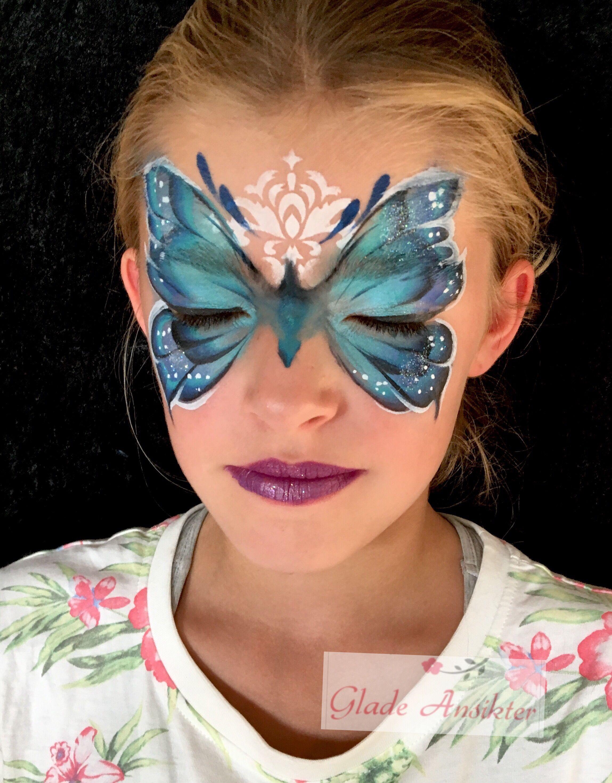 Sommerfugl ansiktsmaling Butterfly facepaint