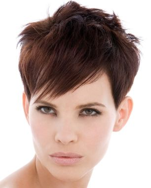 short brown straight pixie Mature hairstyles for women