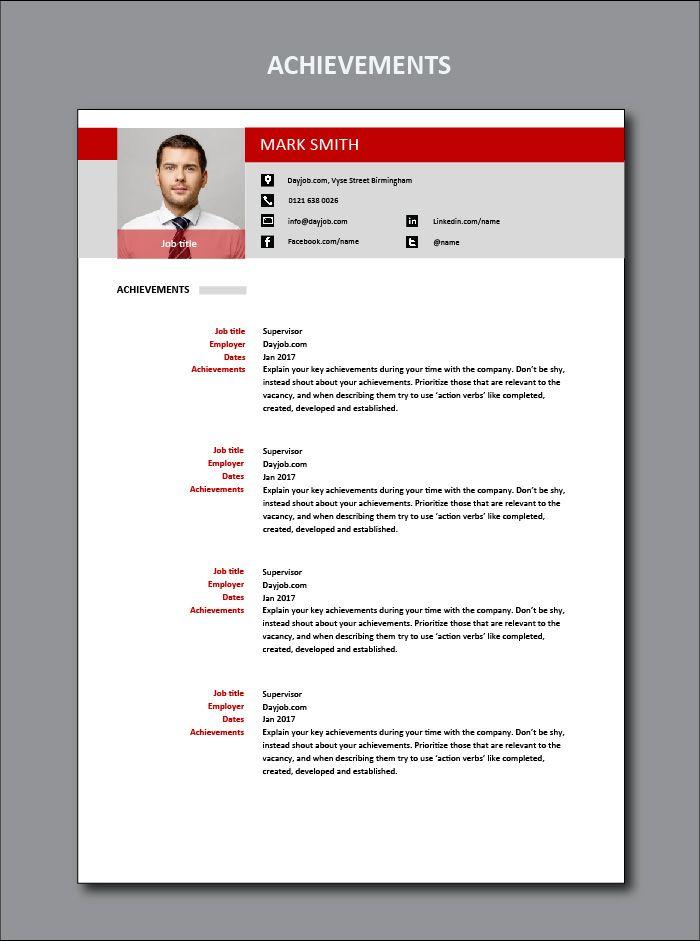 achievements, CV, template, example, goals, ambitions, ambition