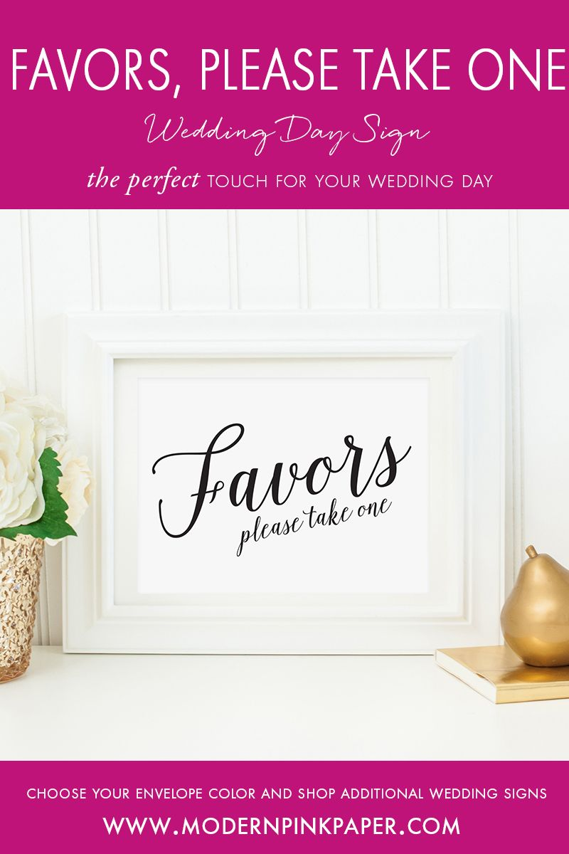 Favors, Please Take One Wedding Sign, WIS04ab | Pink paper, Favors ...