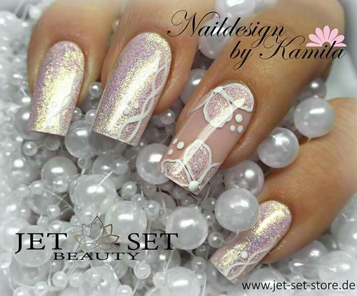 Long nails wedding square flower pink gold   Nail Design   Pinterest ...