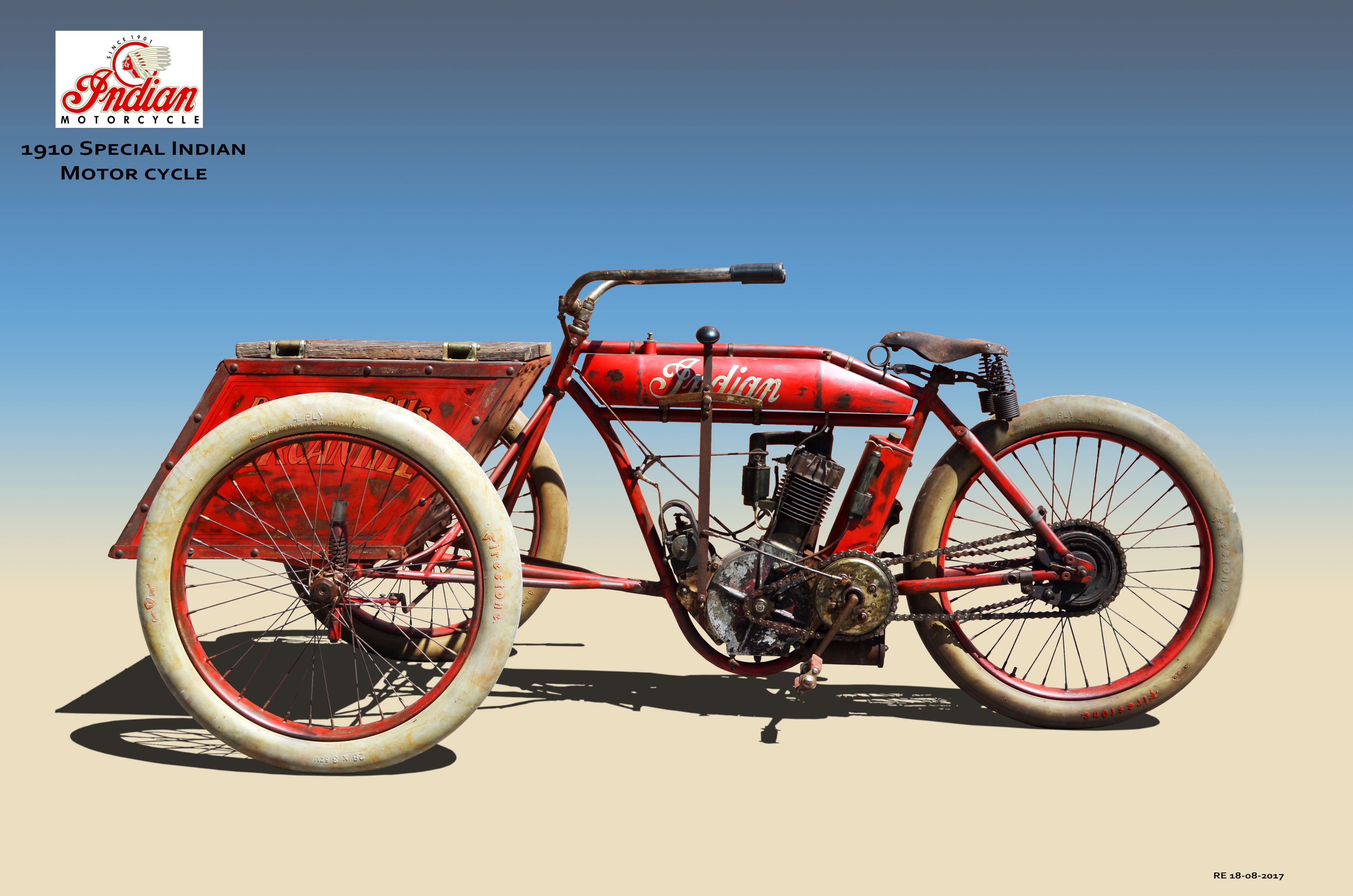1910 Indian Special Motorcycle Aangepaste Motoren Motor Oldtimers