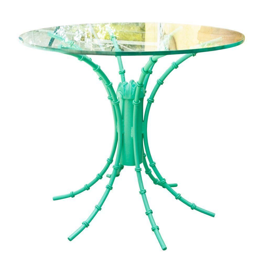 Turquoise High Gloss Iron Table on Chairish.com