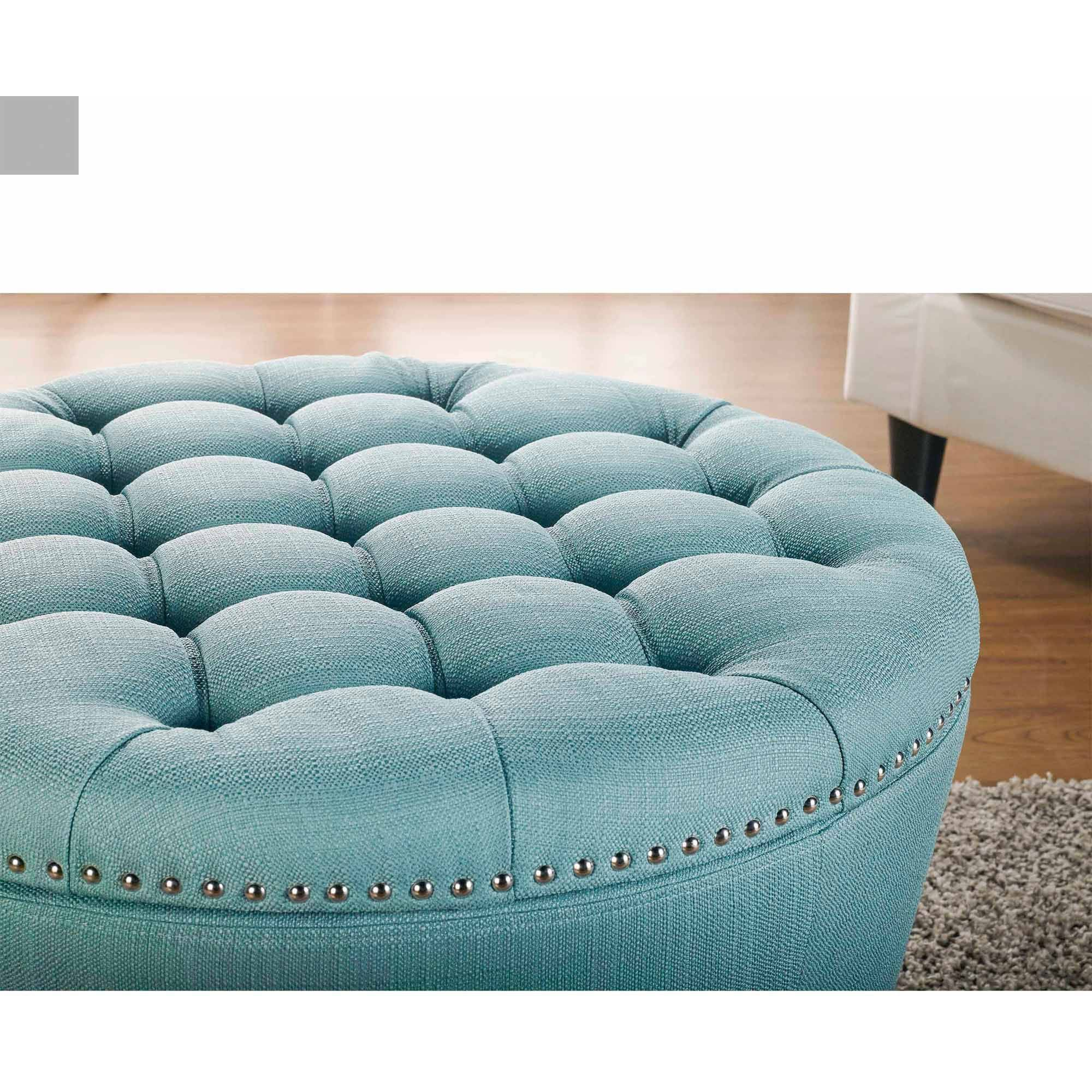 Terrific better homes and gardens round tufted storage ottoman with nailheads also light blue round ottoman also blue velvet ottoman