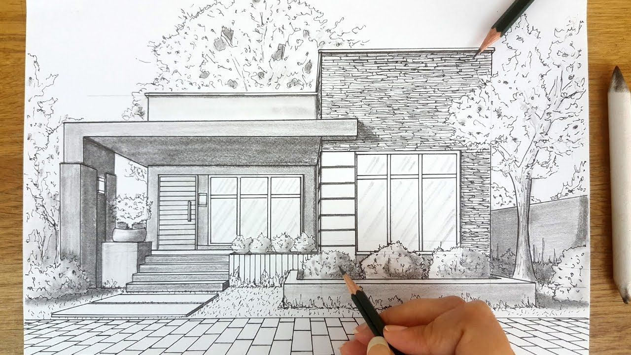 Awesome Architecture Perspective Building Drawing 1 Point Perspective One Perspective Drawing
