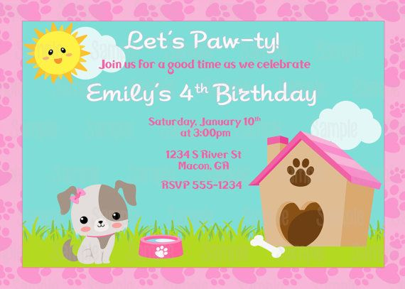 Printable Puppy Dog Birthday Party Invitation