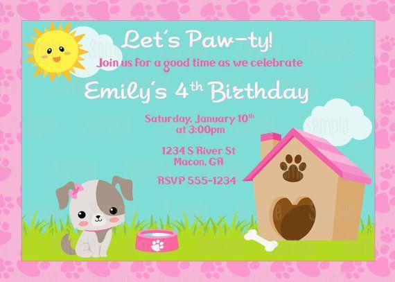 Printable Puppy Dog Birthday Party Invitation – Puppy Dog Birthday Invitations