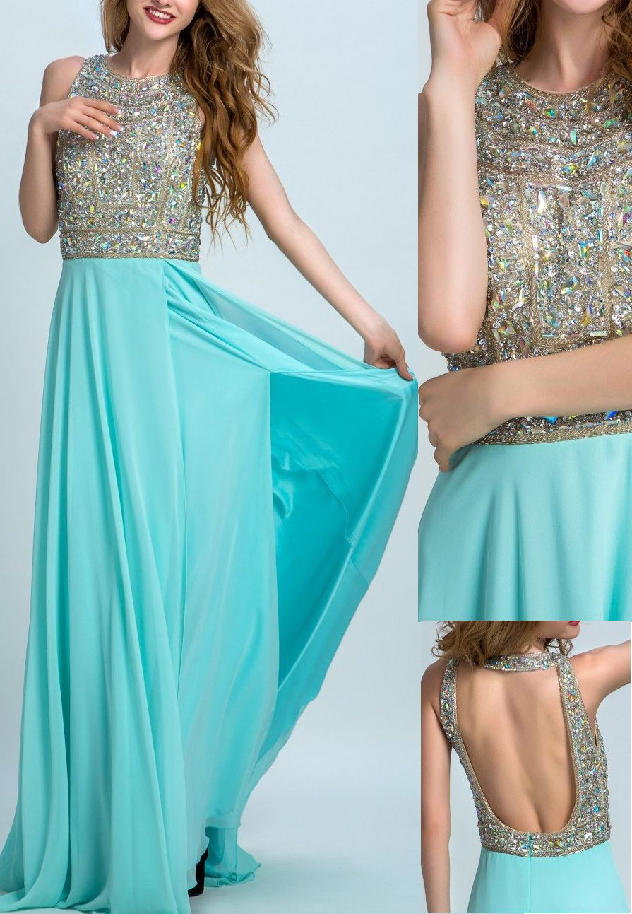 Hot Sale Light Blue Prom Evening Dress Cute Long Evening Dresses ...