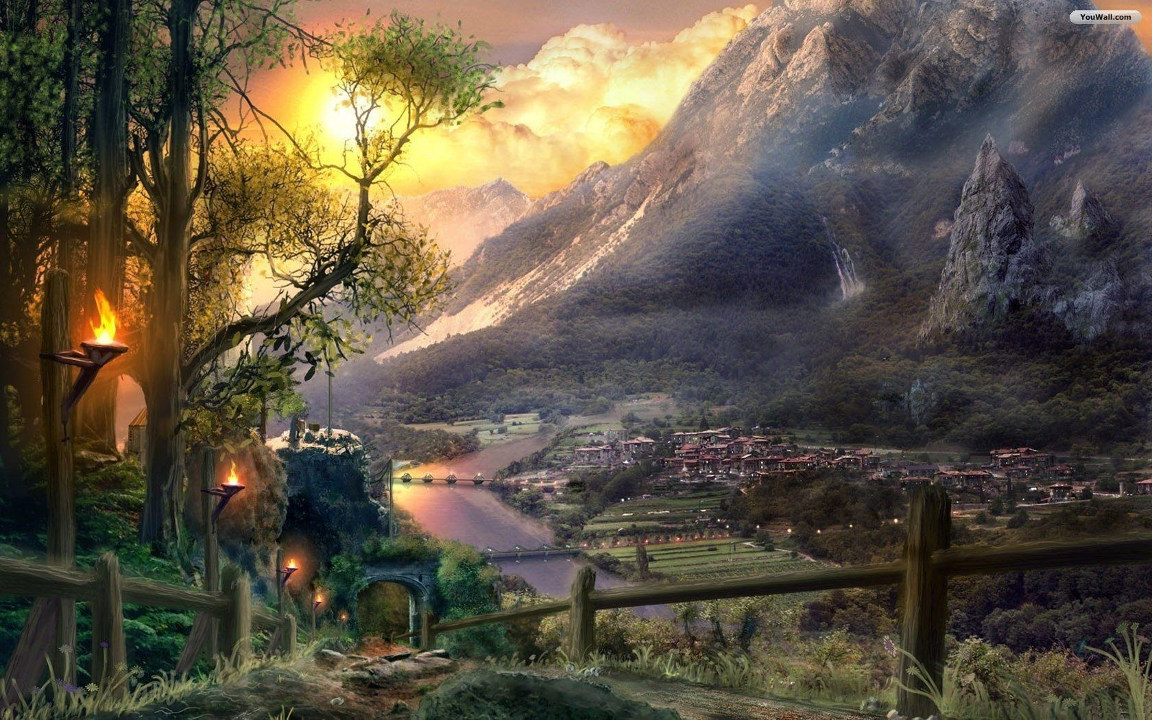 Fantasy World Wallpaper Fantasy Landscape Fantasy Village Fantasy City