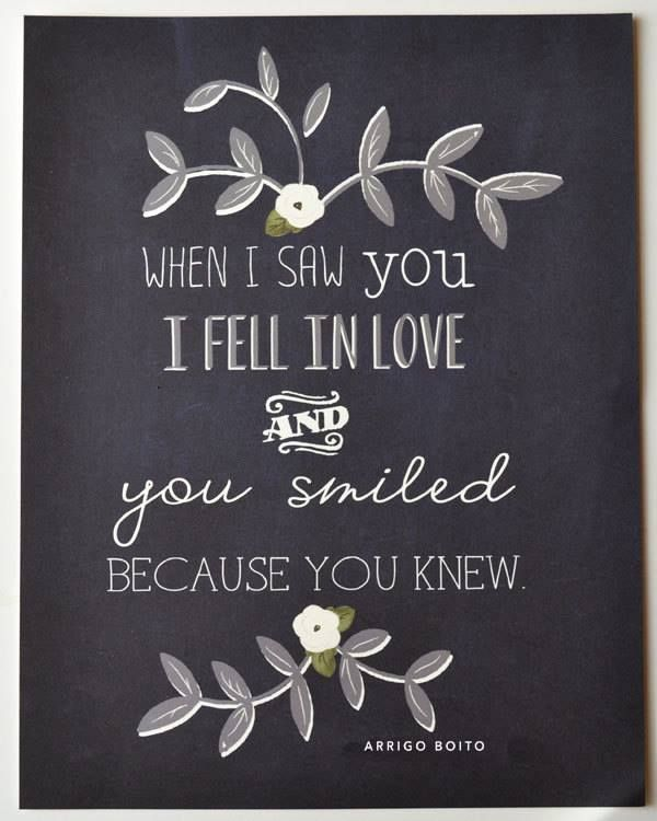 When I Saw You I Fell In Love You Smiled Because You Knew