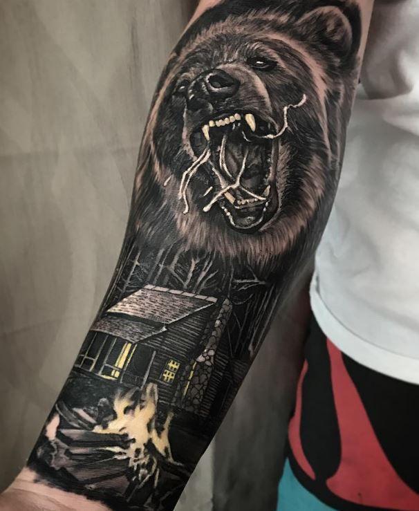 Wild Bear Tattoo Bear Tattoo Designs Bear Tattoos Half Sleeve