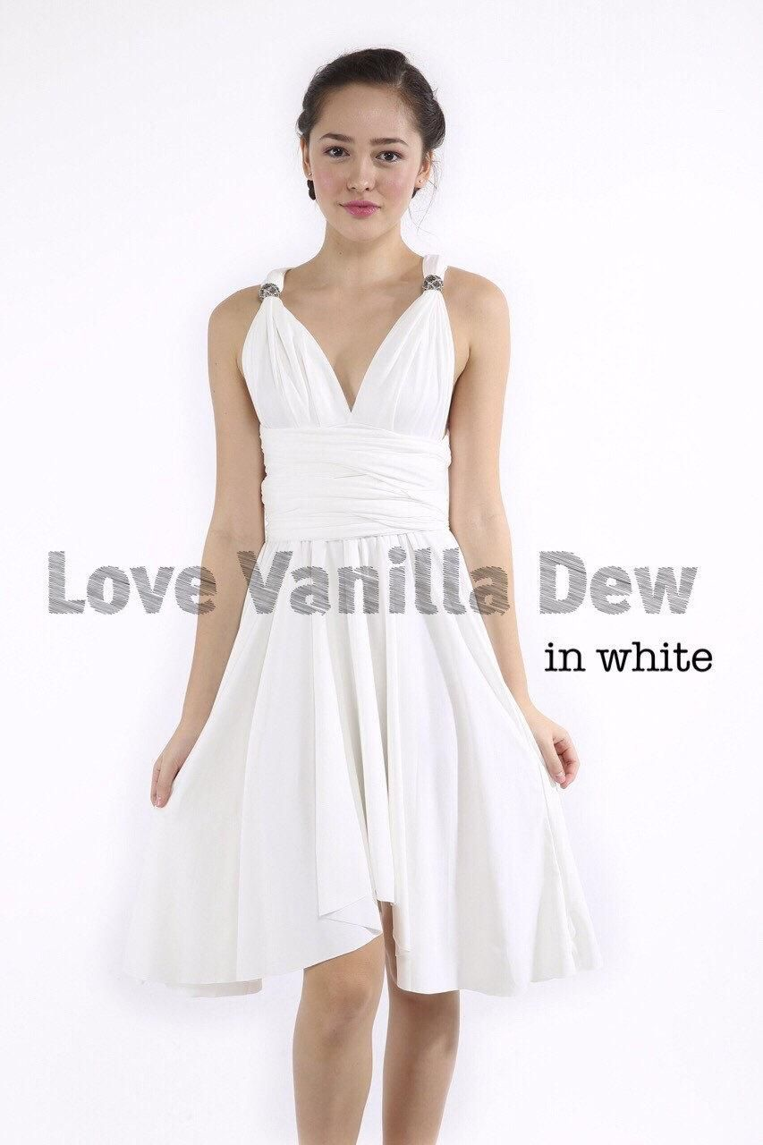 fc45b99b5db3 Bridesmaid Dress Infinity Dress White Knee Length Wrap Convertible Dress  Wedding Dress