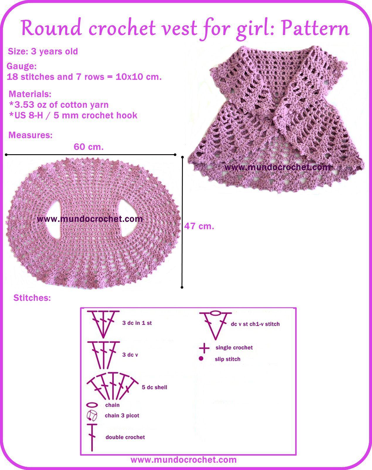 Round crochet vest for girl | Gina | Pinterest | Boleros, Tejido y ...