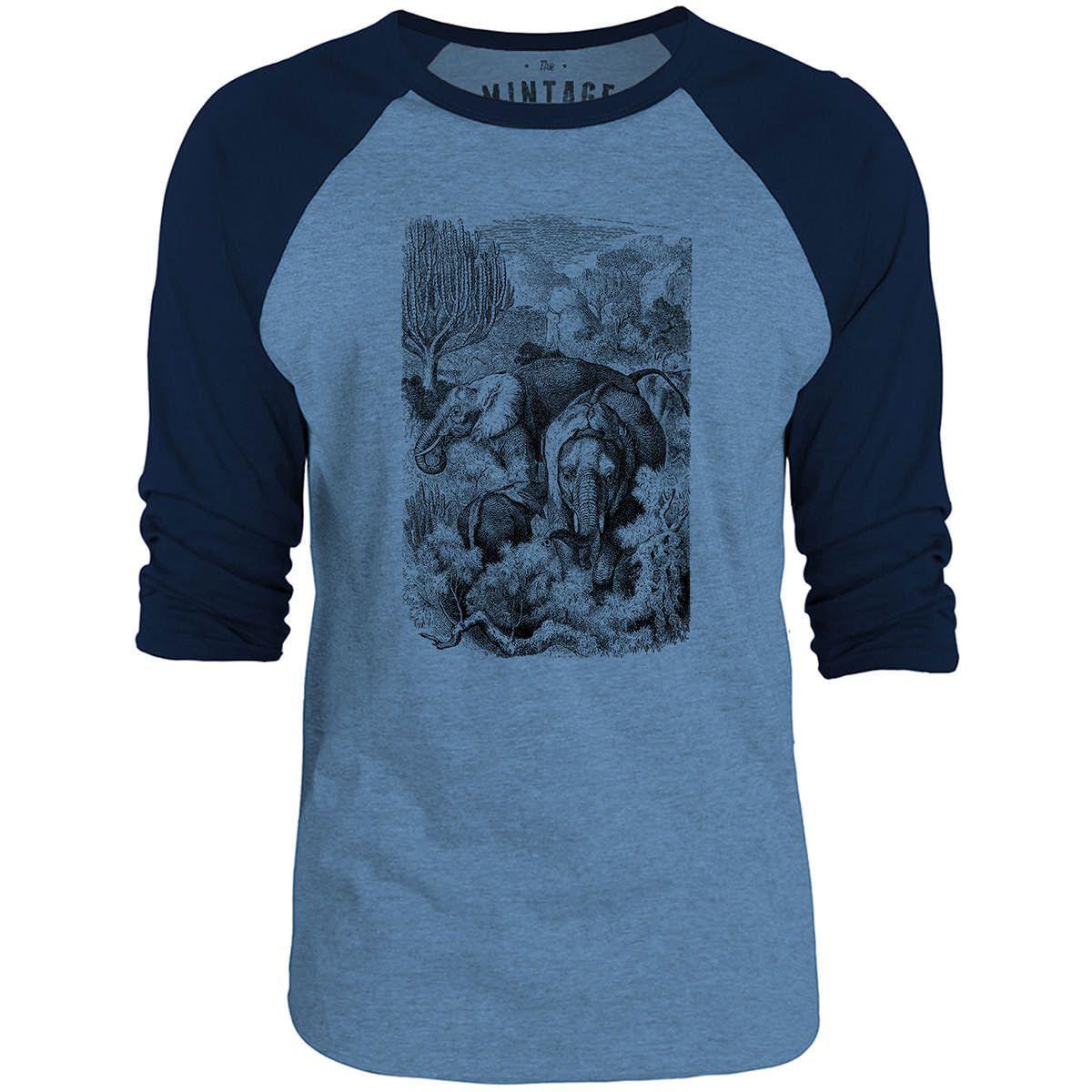 Mintage Wild Elephants 3/4-Sleeve Raglan Baseball T-Shirt (Cobalt Marle / Navy)