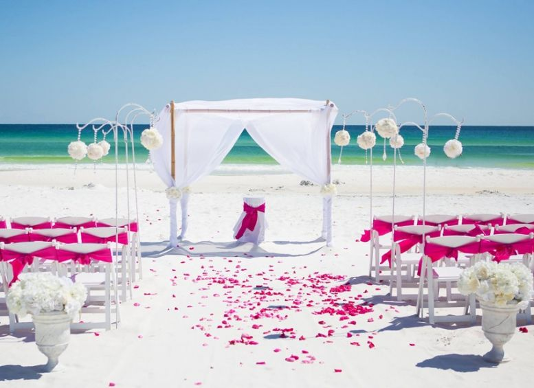 PInk Beach Wedding Gin Panama City Florida