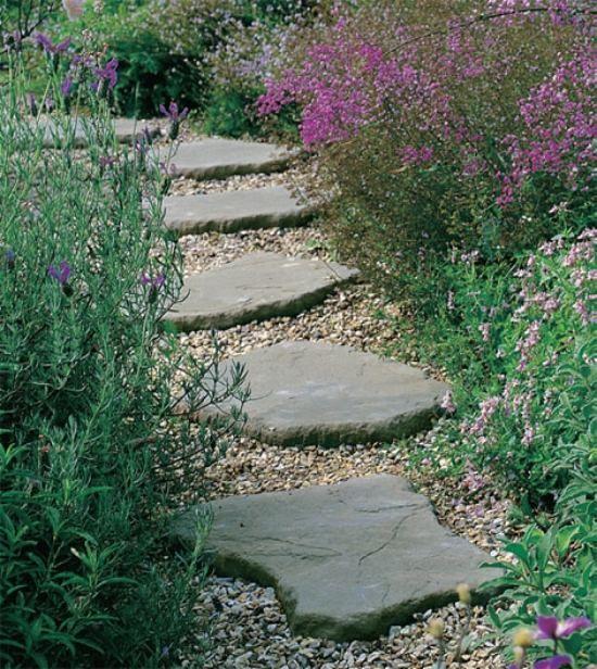 ideen für gartenweg stein naturform Gartenwege Pinterest - vorgartengestaltung mit rindenmulch und kies