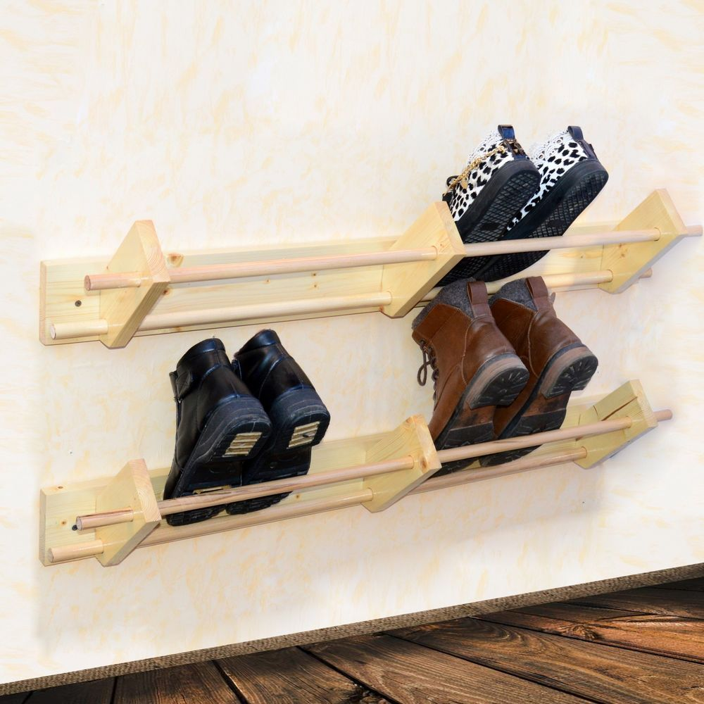 Wall Mounted Wooden Shoe Rack Floating Organizer