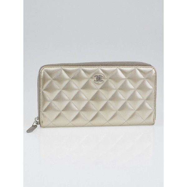 55e34c4f6ecc Pre-owned Chanel Gold Quilted Striated Patent Leather L Zip Wallet (27,865  THB) ❤ liked on Polyvore featuring bags, wallets, chanel, gold bag, coin  wallet, ...
