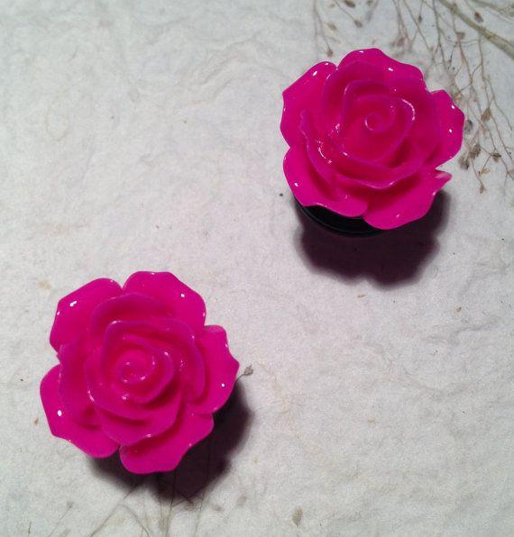 """Small Hot Pink Rose Flower Plug Earrings 6mm (1/4"""") (2g), 8mm (5/16"""") (0g), 10mm (3/8"""") (00g), 12mm (1/2""""), 14mm (9/16"""")(BSD114) #EasyNip"""