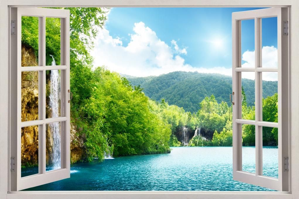 8 99 forest lake scene 3d window view decal wall on wall stickers painting id=60181