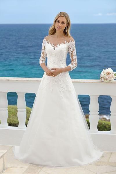 lace wedding dress tulle wedding dress,long sleeves bridal dress A-line wedding dress