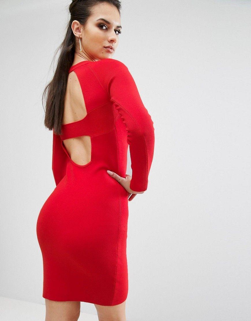 Kendall kylie banded back long sleeve dress red tv pinterest