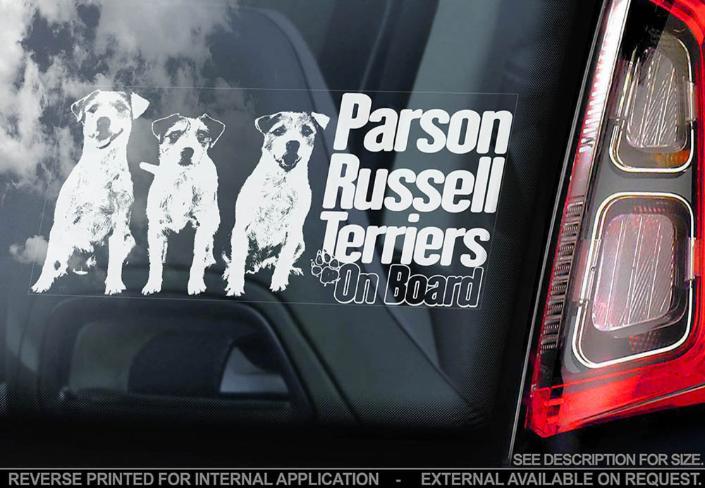 Car Window Sticker Jack Russell on Board Russel Terrier Dog Sign Decal V01