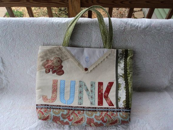 Fun JUNK Tote Bag by Creationsbyweezie on Etsy, $60.00