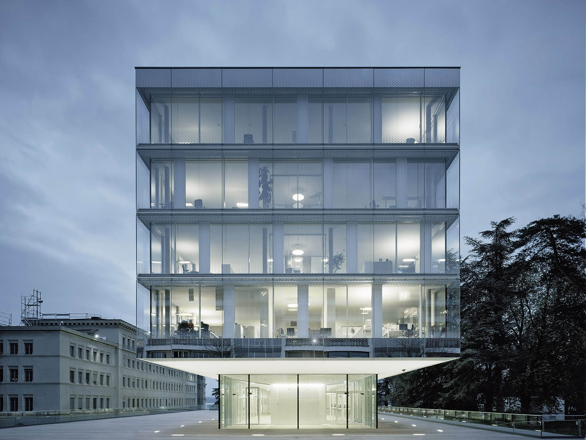 World trade organization geneva expansion of headquarters double glass facade - Moderne buitenkant indeling ...