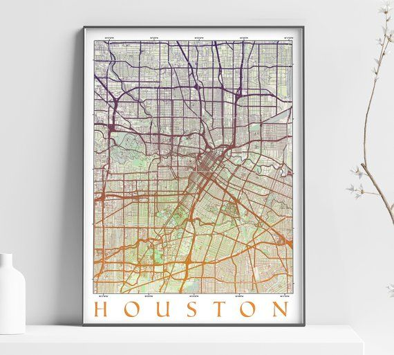 VINTAGE Map of HOUSTON - Texas - Home Decor - Wall decor - Office ...