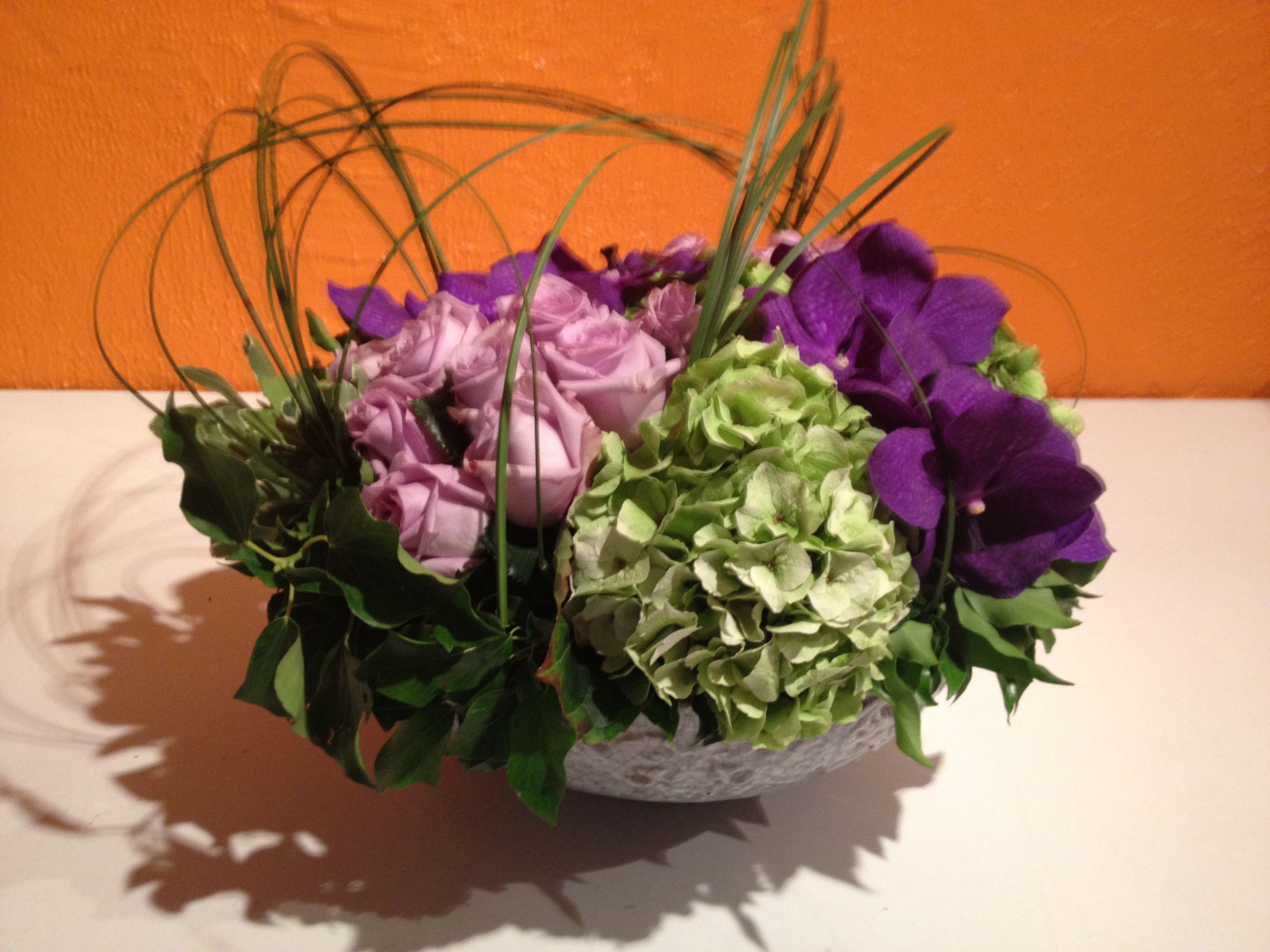 Roses cool water, orchidées vanda et hortensia