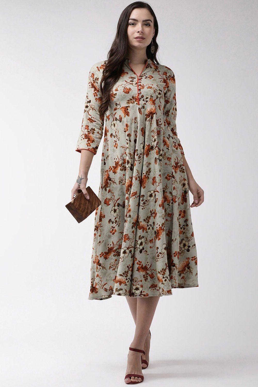 Viscose Printed Maxi Dress In Orange Printed Maxi Dress Maxi Dress Dresses [ 1500 x 1000 Pixel ]
