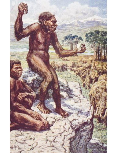 Photo of East Urban Home Poster Neanderthal Mankind, Illustration from 'The Outline of History' by H.G. Wells, Volume I, Published in 1920, Kunstdruck von Harry Hamilton Johnston | Wayfair.de