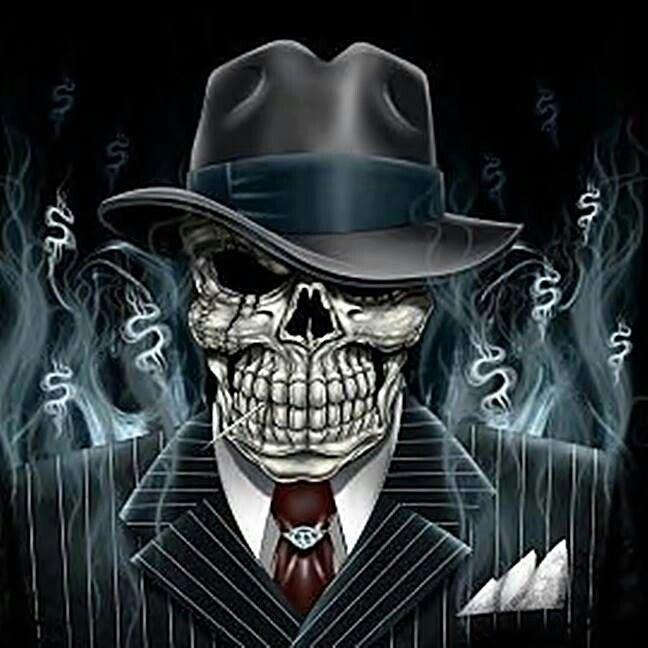 gangster mobster skull cool pinterest mobsters