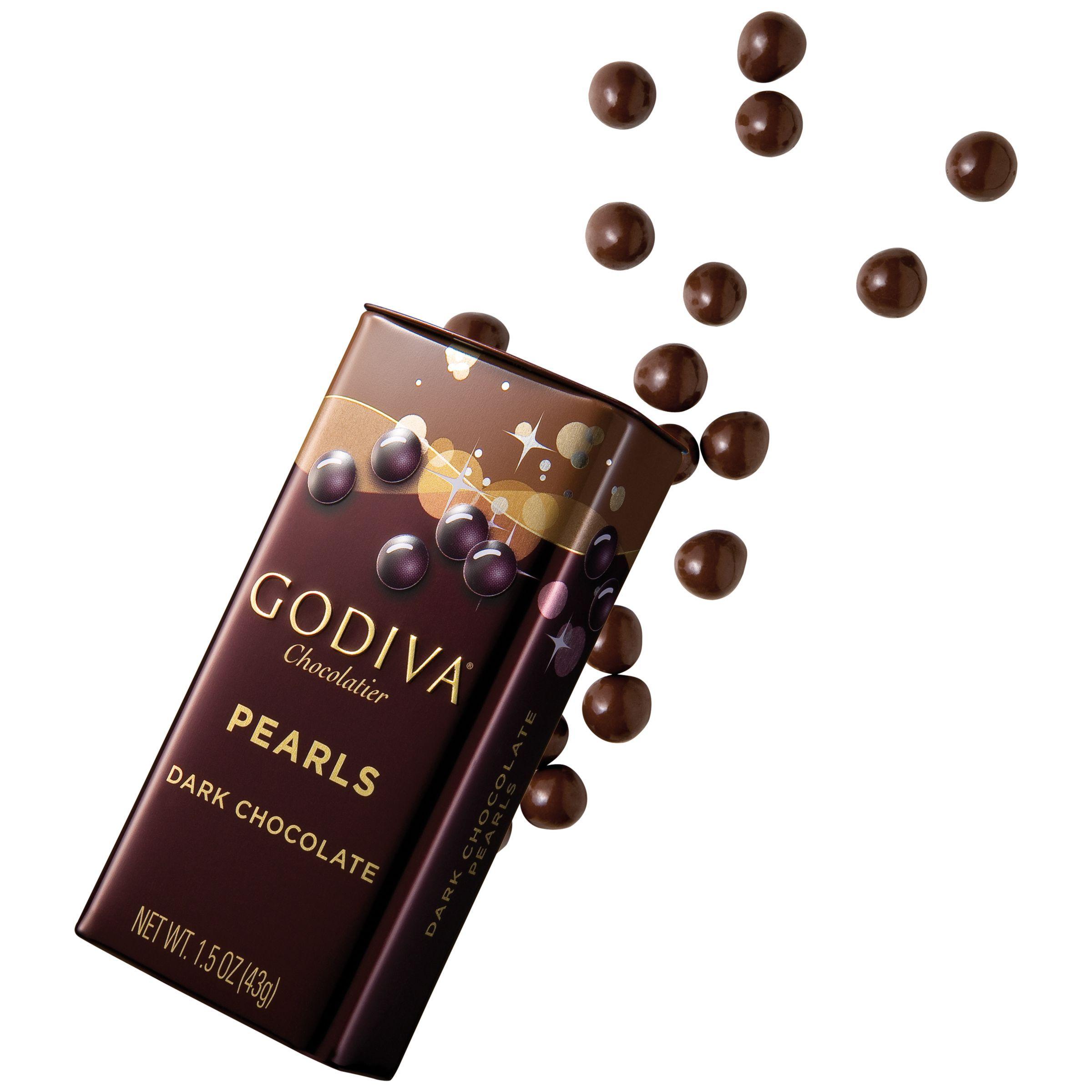 Godiva dark chocolate pearls in a tin 43g chocolate