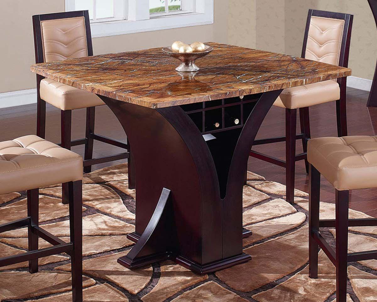 Delightful Global Furniture USA 800 Bar Table   Wenge   Stone/Tan Marble