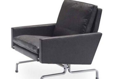 Poltrona PK31, Poul Kjærholm, 1958. Design vintage tipicamente anni '60 per il divano due posti della linea PK di Poul Kjærholm. Struttura in legno, base in acciaio inox lucidato a specchio, rivestimento in pelle.