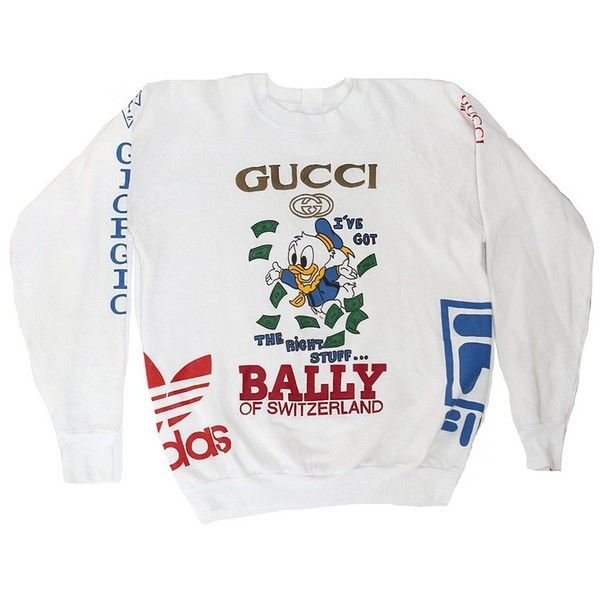 25af7f6368e Vintage Ultimate Bootleg Logo Donald Duck Gucci Sweatshirt (4.926.765 IDR)  ❤ liked on Polyvore featuring tops