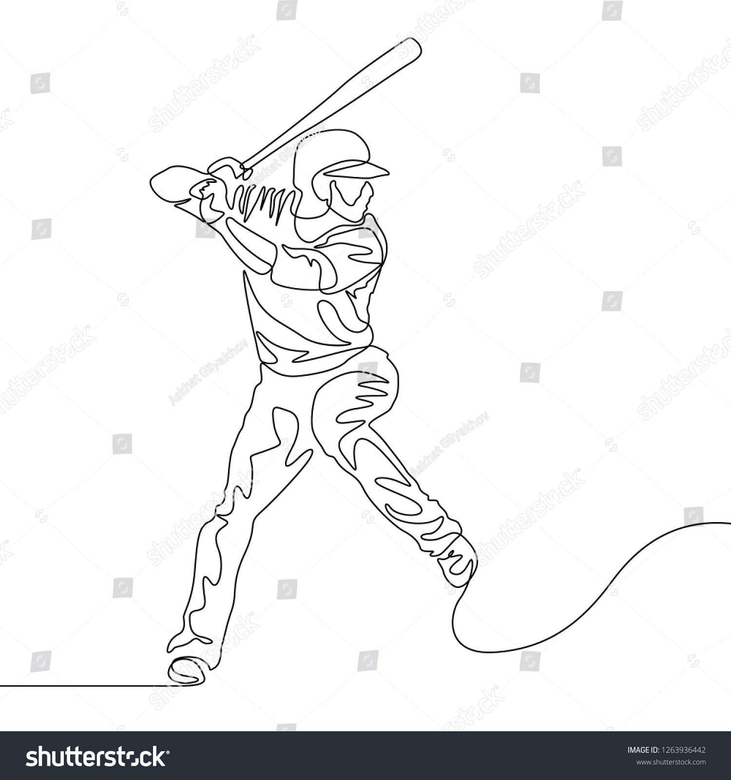 Continuous One Line Baseball Player Batter Going To Hit The Ball Baseball Theme Sport Baseball Drawings Line Drawing Continuous Line Drawing